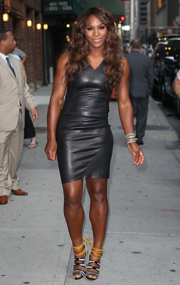 "With the US Open tennis tournament starting Monday, it was time for women's world #1 Serena Williams to kick off her campaign for a fifth title at Flushing Meadows by hitting the pavement in NYC. Upon arriving for a taping of ""Late Show With David Letterman,"" the budding fashionista popped a pose for photographers in a leather Narciso Rodriguez looker that hugged her sporty curves in all the right places. A flawless mane, stacked bangles, and $900 Aperlai snakeskin sandals completed Serena's grand slam of an ensemble."