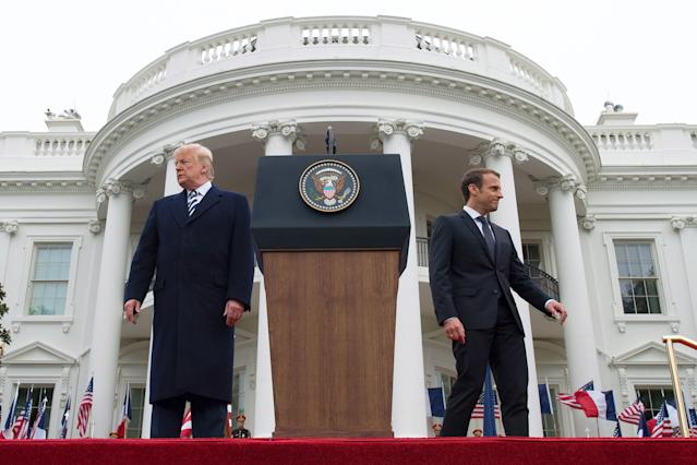 <p>French President Emmanuel Macron (R) and US President Donald Trump attend a state welcome at the White House in Washington on April 24, 2018. (Photo: Jim Watson/AFP/Getty Images) </p>