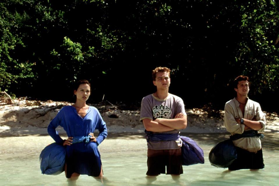 """<p>A young Leonardo DiCaprio and two friends travel in search of an idyllic hidden beach community in Thailand in this adventure-drama movie. The events of the movie aren't super relaxing, but the setting—filmed on the Thai island of Ko Phi Phi Le—is beyond gorgeous.</p> <p><a href=""""https://www.amazon.com/Beach-Leonardo-DiCaprio/dp/B000I9X6BS"""" rel=""""nofollow noopener"""" target=""""_blank"""" data-ylk=""""slk:Available to rent on Amazon Prime Video"""" class=""""link rapid-noclick-resp""""><em>Available to rent on Amazon Prime Video</em></a></p>"""