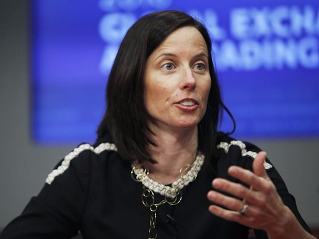 Adena Friedman, CFO of the Nasdaq OMX, speaks at the Reuters Exchanges and Trading Summit in New York March 31, 2010. REUTERS/Natalie Behring