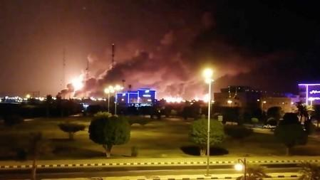 Smoke is seen following a fire at an Aramco factory in Abqaiq