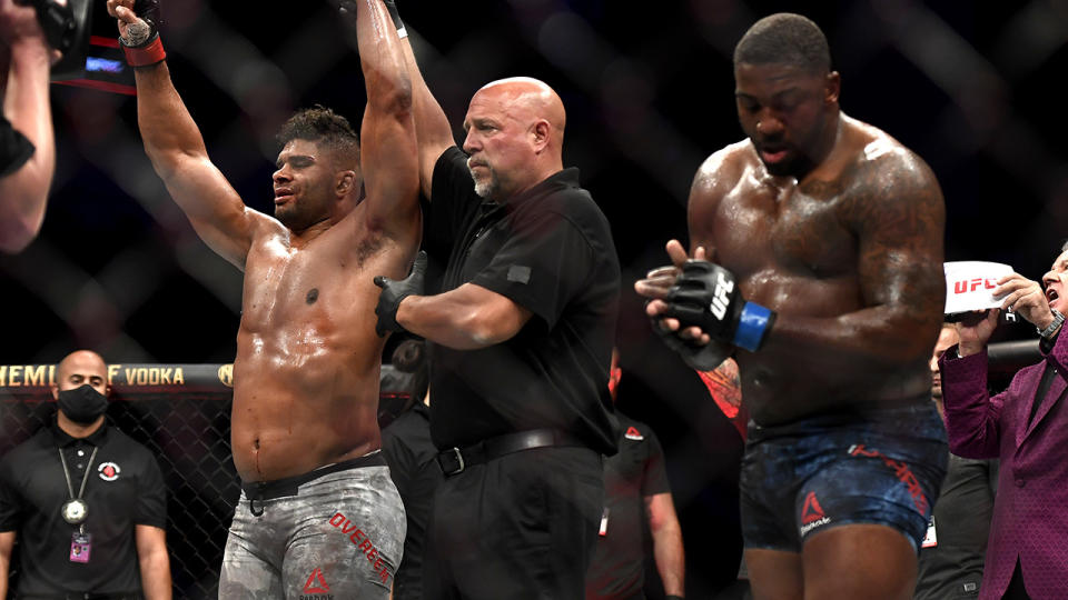 Alistair Overeem, pictured here celebrating after defeating Walt Harris at UFC Fight Night in Jacksonville.