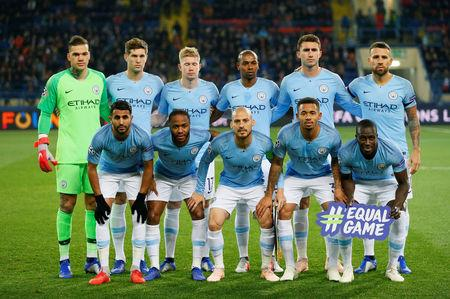 Soccer Football - Champions League - Group Stage - Group F - Shakhtar Donetsk v Manchester City - Metalist Stadium, Kharkiv, Ukraine - October 23, 2018  Manchester City players pose for a team group photo before the match   REUTERS/Gleb Garanich