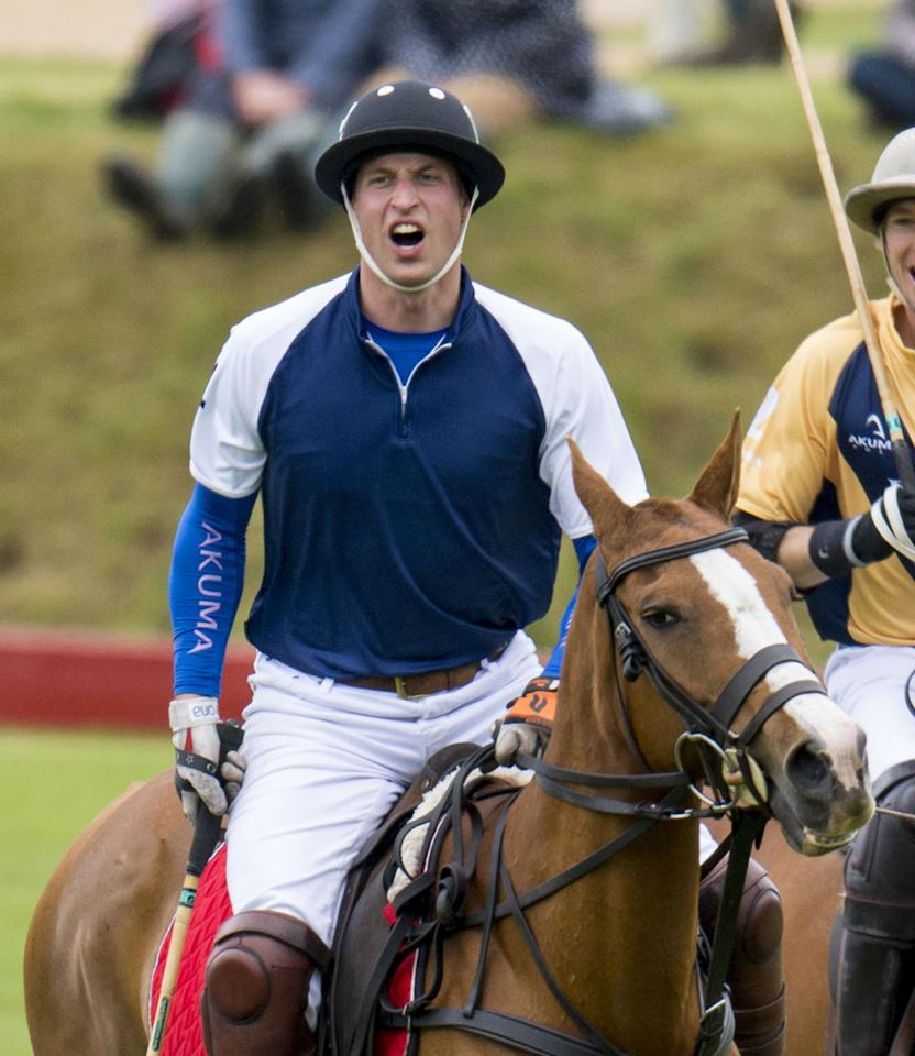 TETBURY, ENGLAND - JUNE 16:  Prince William, Duke of Cambridge takes part in a charity polo day at Beaufort Polo Club on June 16, 2013 in Tetbury, England.  (Photo by Mark Cuthbert/UK Press via Getty Images)