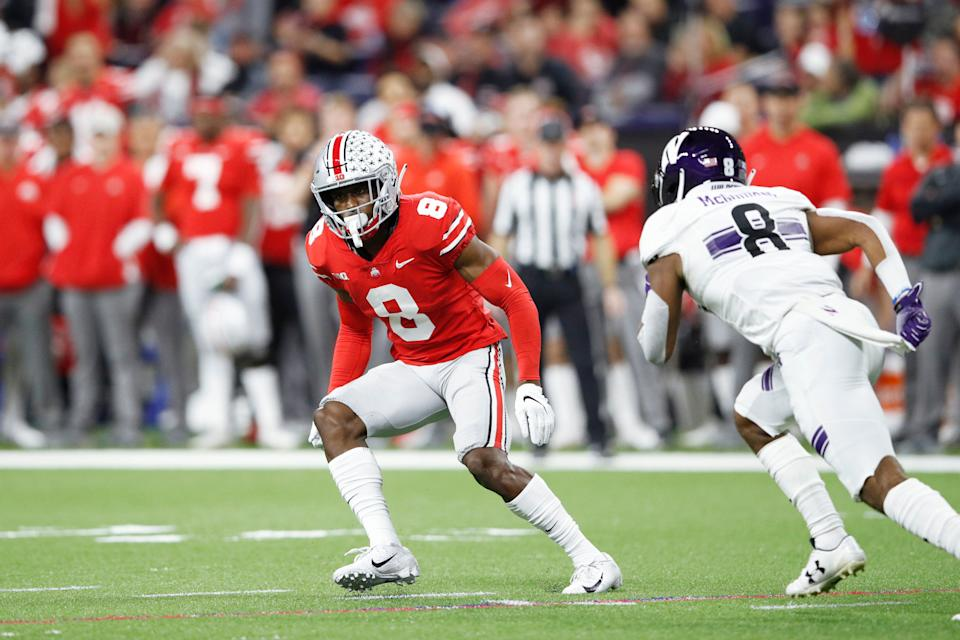 INDIANAPOLIS, IN - DECEMBER 01: Kendall Sheffield #8 of the Ohio State Buckeyes in action during the Big Ten Championship game against the Northwestern Wildcats at Lucas Oil Stadium on December 1, 2018 in Indianapolis, Indiana. Ohio State won 45-24. (Photo by Joe Robbins/Getty Images)