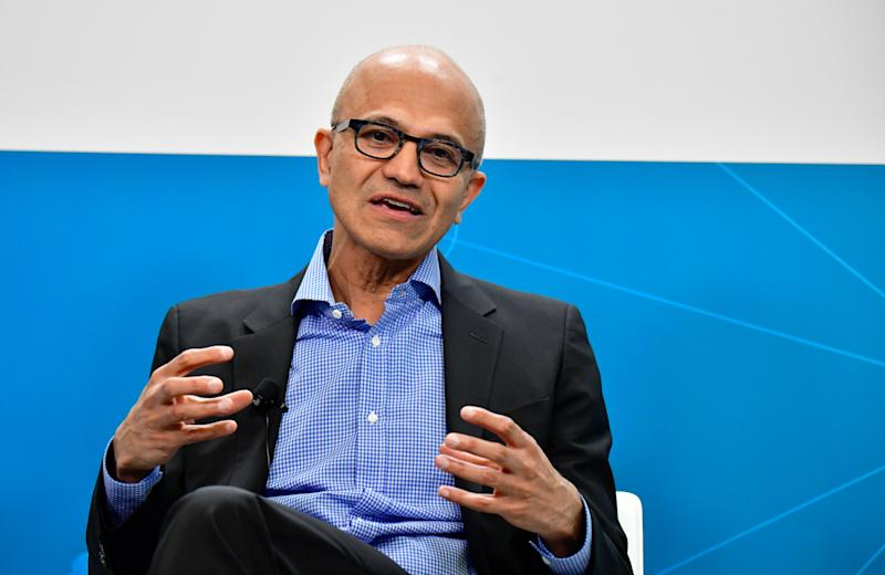 Microsoft CEO Satya Narayana Nadella speaks during a so-called Fireside-Chat with the CEO of German carmaker Volkswagen (unseen) where they unveiled their cooperation for the Volkswagen Automotive Cloud developed with Microsoft, on February 27, 2019 in Berlin (Photo by Tobias SCHWARZ / AFP) (Photo credit should read TOBIAS SCHWARZ/AFP via Getty Images)