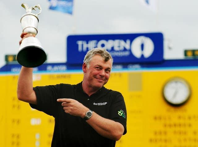 Darren Clarke celebrates with Claret Jug at the 18th after winning the 2011 Open