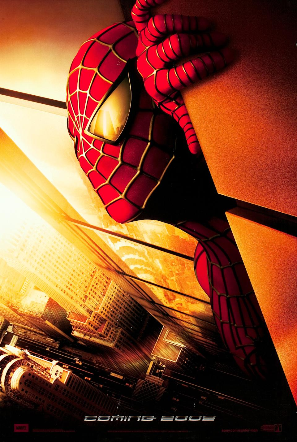 You can see the Twin Towers reflected in the lens of Spider-Man's costume. (Sony Pictures)