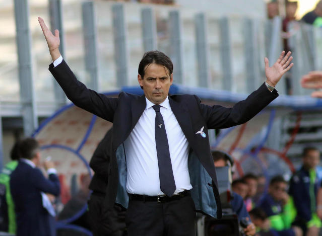 Lazio coach Simone Inzaghi opens his arms during the Serie A soccer match between Crotone and Lazio at Ezio Scida stadium in Crotone, Italy, Sunday May 13, 2018. (Albano Angiletta/ANSA via AP)