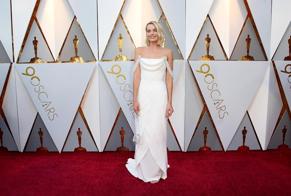 <p>The I Tonya star may have missed out on an Oscars gong, but her white dress was a definite winner (Getty Images) </p>