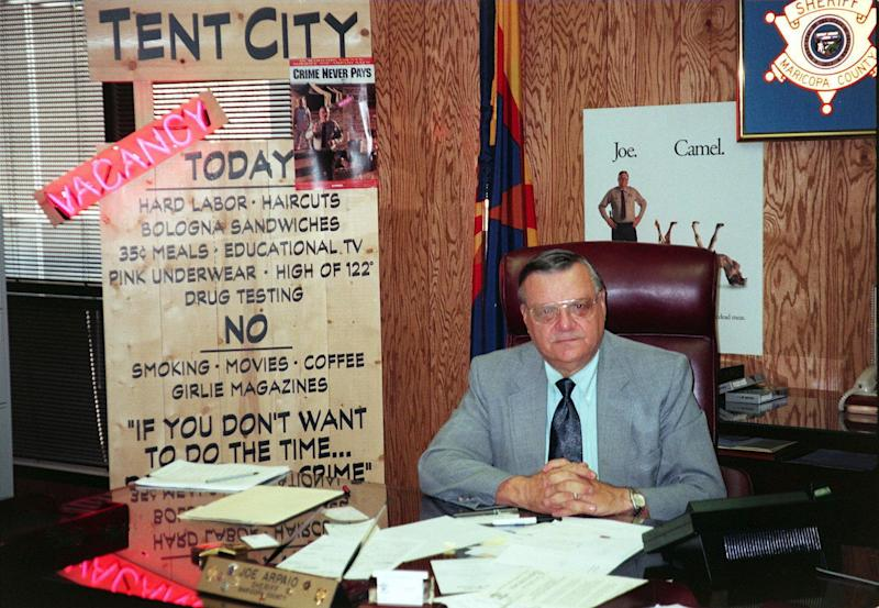 """As sheriff, Arpaio established -- and showed off to the media -- a """"tent city"""" prison camp. (JEAN-LOUP SENSE/AFP/Getty Images)"""