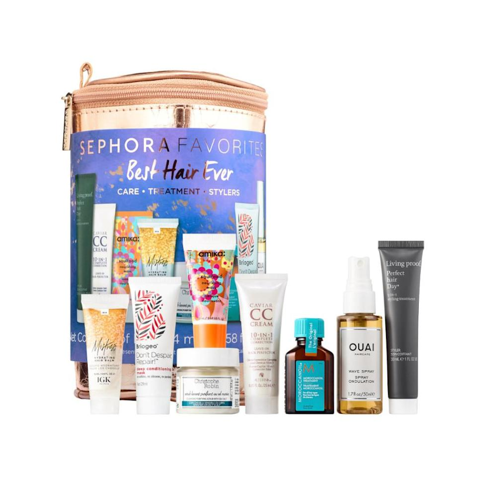 """<p>The name says it all: This wide-ranging assortment of hair products and treatments have you covered, whether strands need repairing, smoothing or volume. <br><strong><a rel=""""nofollow noopener"""" href=""""https://fave.co/2Q0vU1i"""" target=""""_blank"""" data-ylk=""""slk:Shop it"""" class=""""link rapid-noclick-resp"""">Shop it</a>: </strong>$25, <a rel=""""nofollow noopener"""" href=""""https://fave.co/2Q0vU1i"""" target=""""_blank"""" data-ylk=""""slk:sephora.com"""" class=""""link rapid-noclick-resp"""">sephora.com</a> </p>"""