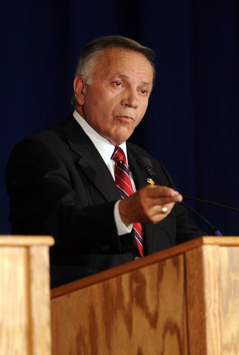 American Constitution candidate Tom Tancredo speaks at the Colorado Governor's debate in Denver on Friday, Oct. 22, 2010. Tancredo debated against Republican candidate Dan Maes, and Democratic candidate Denver Mayor John Hickenlooper. (AP Photo/Chris Schneider)