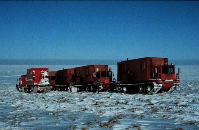 Seismic vibrator units in the 1002 area in the winter of 1985.