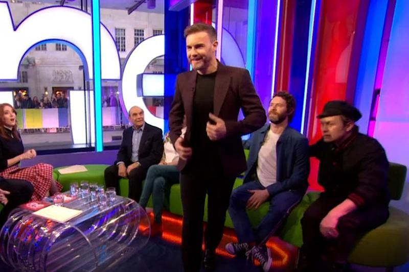 Feeling poorly: Gary Barlow made a swift exit: BBC iPlayer