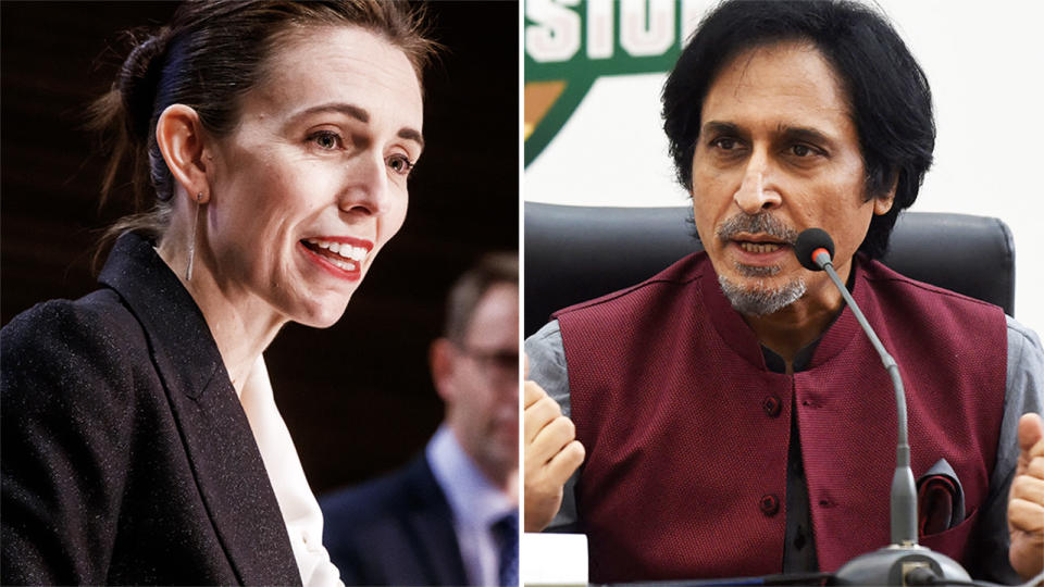 Jacinda Ardern and Ramij Raja, pictured here following New Zealand's abandonment of their tour of Pakistan.