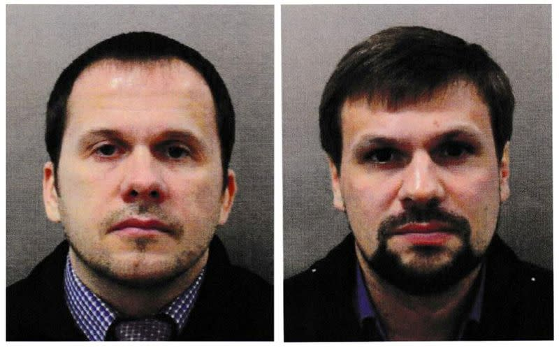 FILE PHOTO: Two men using the aliases Alexander Petrov and Ruslan Boshirov, who were formally accused of attempting to murder former Russian intelligence officer Sergei Skripal and his daughter Yulia in Salisbury, are seen in an image handed out by the Met