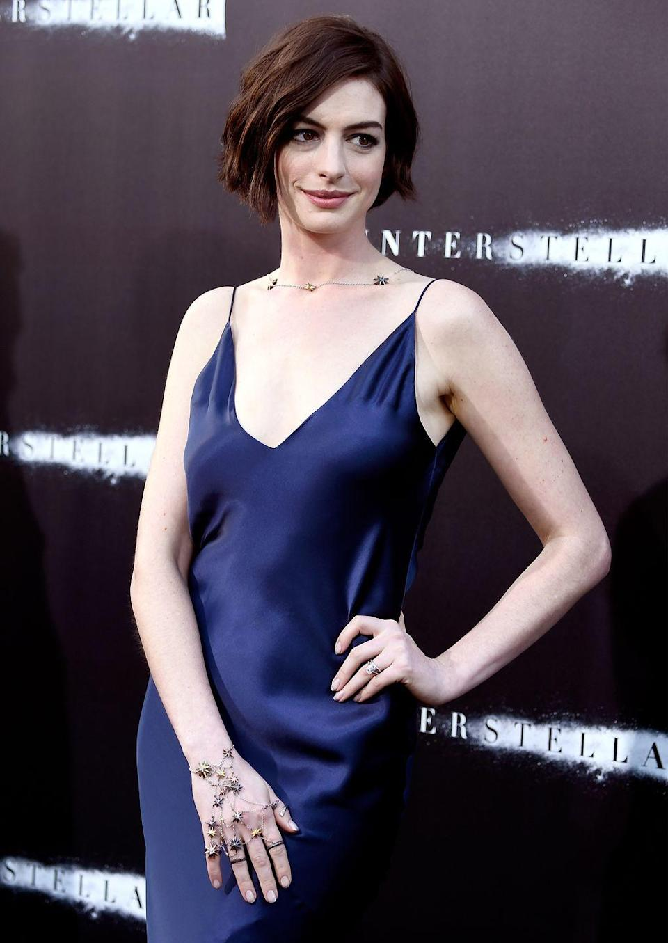 """<p>Anne Hathaway famously posted a picture of a pair of jeans she'd cut into shorts on <a href=""""https://www.instagram.com/p/BI3w8DYD2KH/?hl=en&taken-by=annehathaway"""" rel=""""nofollow noopener"""" target=""""_blank"""" data-ylk=""""slk:Instagram"""" class=""""link rapid-noclick-resp"""">Instagram</a> a few months after giving birth to son Jonathan in 2016. 'There is no shame in gaining weight during pregnancy (or ever),' she wrote. </p><p>'There is no shame if it takes longer than you think it will to lose the weight (if you want to lose it at all). There is no shame in finally breaking down and making your own jean shorts because last summer's are just too dang short for this summer's thighs. Bodies change. Bodies grow. Bodies shrink. It's all love (don't let anyone tell you otherwise.)'</p>"""