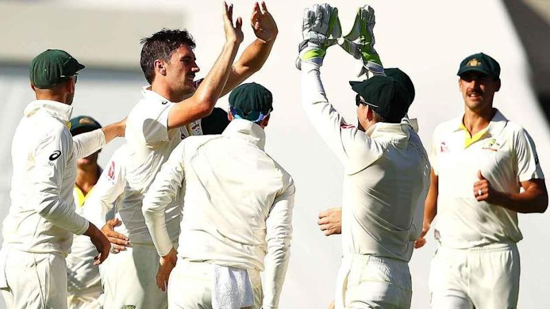 Aussies celebrate Stoneman's wicket. Pic: Getty