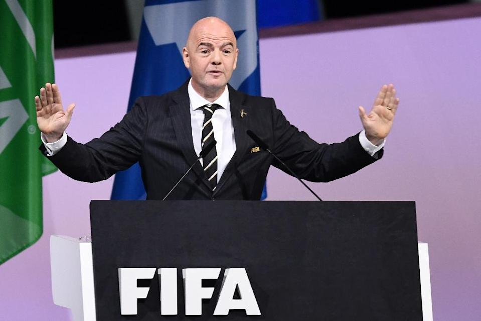 Gianni Infantino was waved in unopposed for a second term as FIFA president in Paris on Wednesday (AFP Photo/FRANCK FIFE)