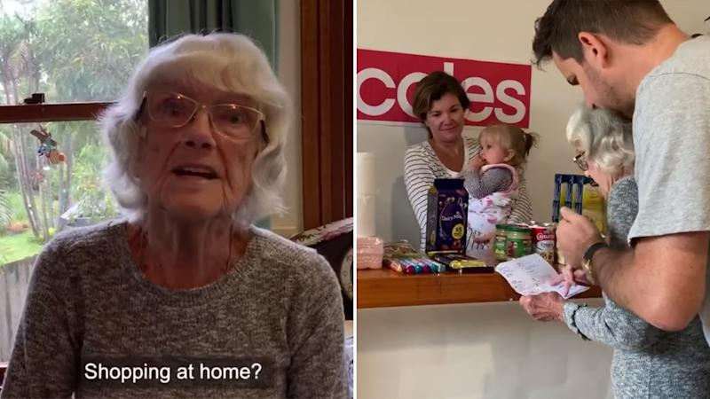 Photo shows van Genderen family's heartwarming plan to brighten their self-isolation with 'trip to Coles'.