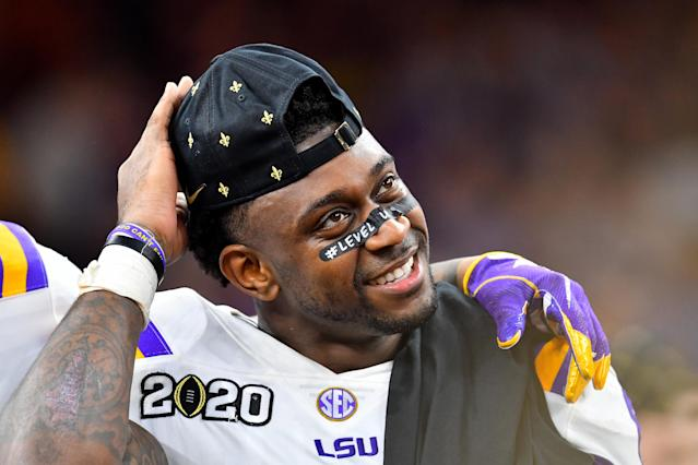 LSU linebacker Patrick Queen will likely be a first-round NFL draft pick come Thursday, and his speed isn't a question anymore. (Photo by Alika Jenner/Getty Images)