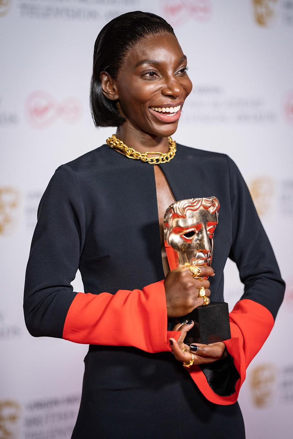 <p>Michaela Coel takes home multiple awards for her series<i> I May Destroy You</i>, including best actress and best mini-series, at the BAFTA TV awards. </p>