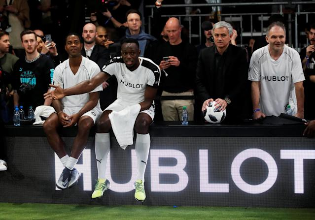 Soccer Football - Hublot Match of Friendship - Congress Center, Basel, Switzerland - March 21, 2018 Jose Mourinho with members of Team Jose Mourinho, Patrick Kluivert, Stephane Chapuisat and Usain Bolt REUTERS/Arnd Wiegmann
