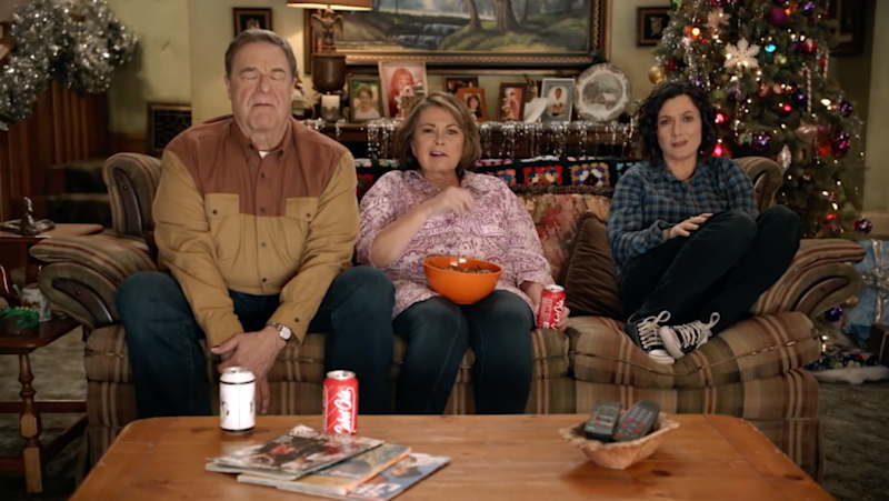 Dan, Roseanne and Darlene are seen watching a basketball game in the third promo. Source: ABC