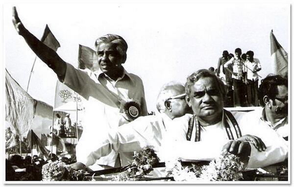 <p>Vajpayee during the first national convention of BJP in Bombay.(Photo tweeted by @IndiaHistoryPic) </p>