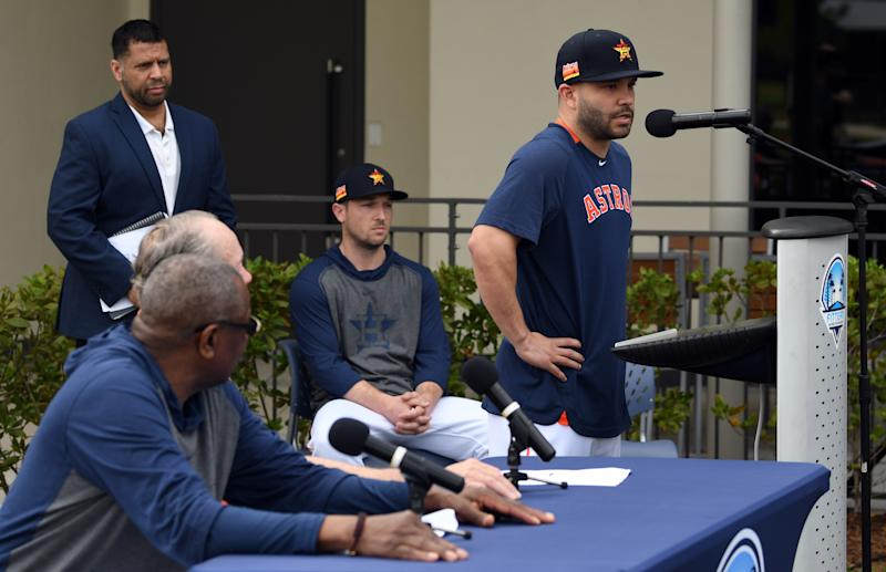 Jose Altuve of the Astros apologizes Thursday for the Astros 2017 cheating scheme. (Jim Rassol-USA TODAY Sports)