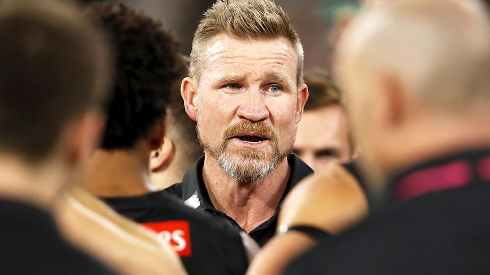 Nathan Buckley, pictured here addressing his players during Collingwood's loss to Western Bulldogs.