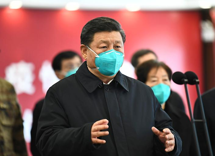 Chinese President Xi Jinping visits a hospital in Wuhan on March 10, 2020.
