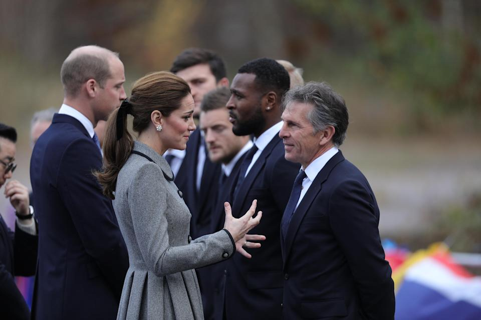 William and Kate speak to Leicester manager Claude Peul and his players (Photo: PA)