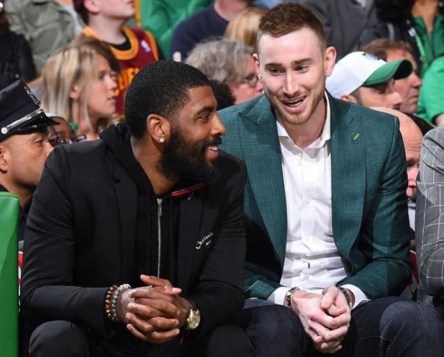 "<a class=""link rapid-noclick-resp"" href=""/nba/players/4724/"" data-ylk=""slk:Gordon Hayward"">Gordon Hayward</a> shared the bench with fellow rehabbing <a class=""link rapid-noclick-resp"" href=""/nba/teams/bos"" data-ylk=""slk:Celtics"">Celtics</a> star <a class=""link rapid-noclick-resp"" href=""/nba/players/4840/"" data-ylk=""slk:Kyrie Irving"">Kyrie Irving</a> during the playoffs. (Getty Images)"