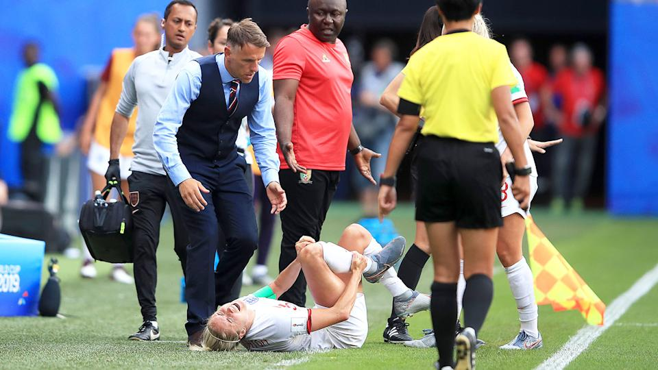 Stephanie Houghton's injury will be a major concern for England. Pic: Getty