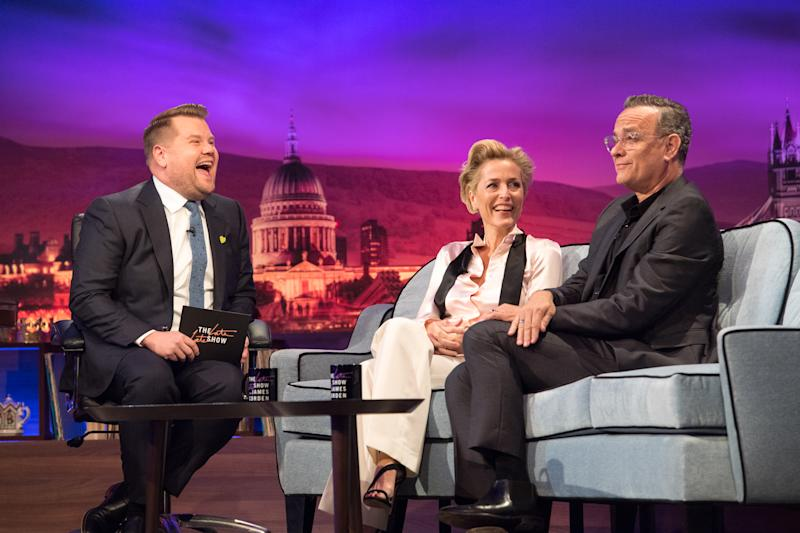 LOS ANGELES - JUNE 17: James chats with guests, Tom Hanks and Gillian Anderson onThe Late Late Show with James Corden broadcasting from London. Airing June 17th, 2019 (12:37-1:37 AM, ET/PT) (Photo by Craig Sugden/CBS via Getty Images)