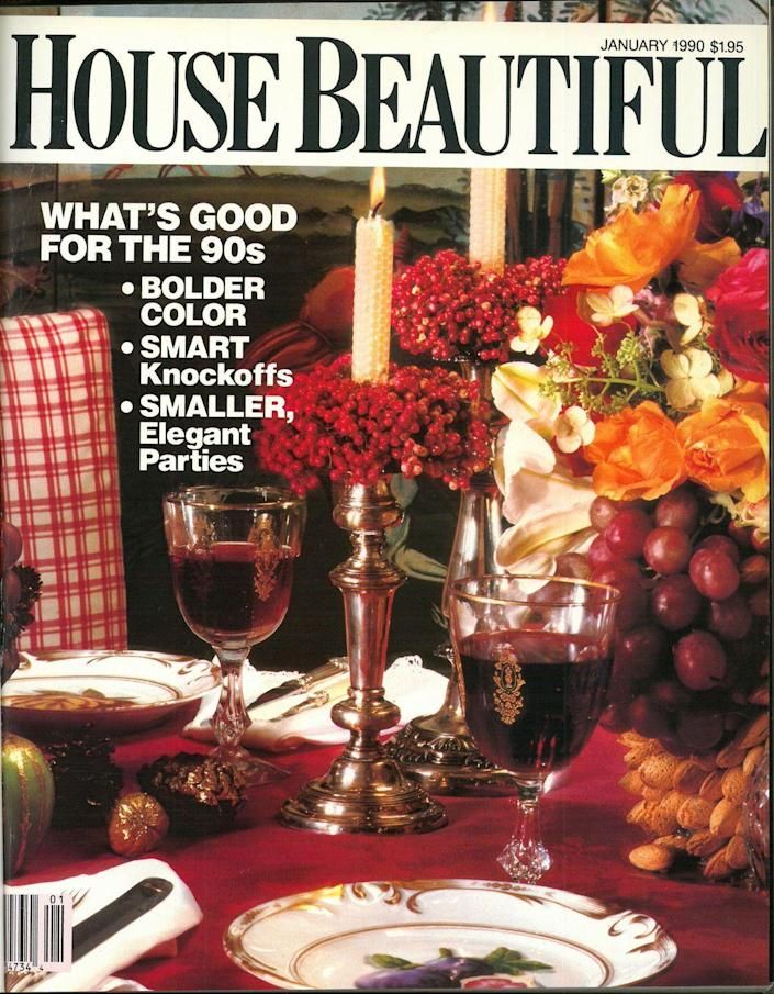 """<p><em>House Beautiful</em> kicked off the decade with an issue that claimed bolder colors, smart knockoffs, and smaller, elegant parties were """"what's good for the 90s.""""</p>"""