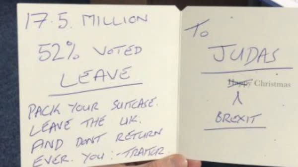 Paul Masterston MP Receives Christmas Card Calling Him 'Judas' And 'Traitor' For His Position On Brexit