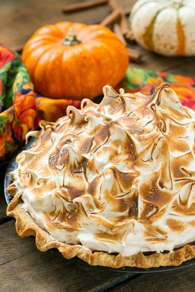 """<p>A torched meringue topping will absolutely wow all your guests. They'll be even more impressed after the first bite.</p><p><strong>Get the recipe at <a href=""""https://www.dinneratthezoo.com/pumpkin-meringue-pie/"""" rel=""""nofollow noopener"""" target=""""_blank"""" data-ylk=""""slk:Dinner at the Zoo"""" class=""""link rapid-noclick-resp"""">Dinner at the Zoo</a>.</strong> </p>"""