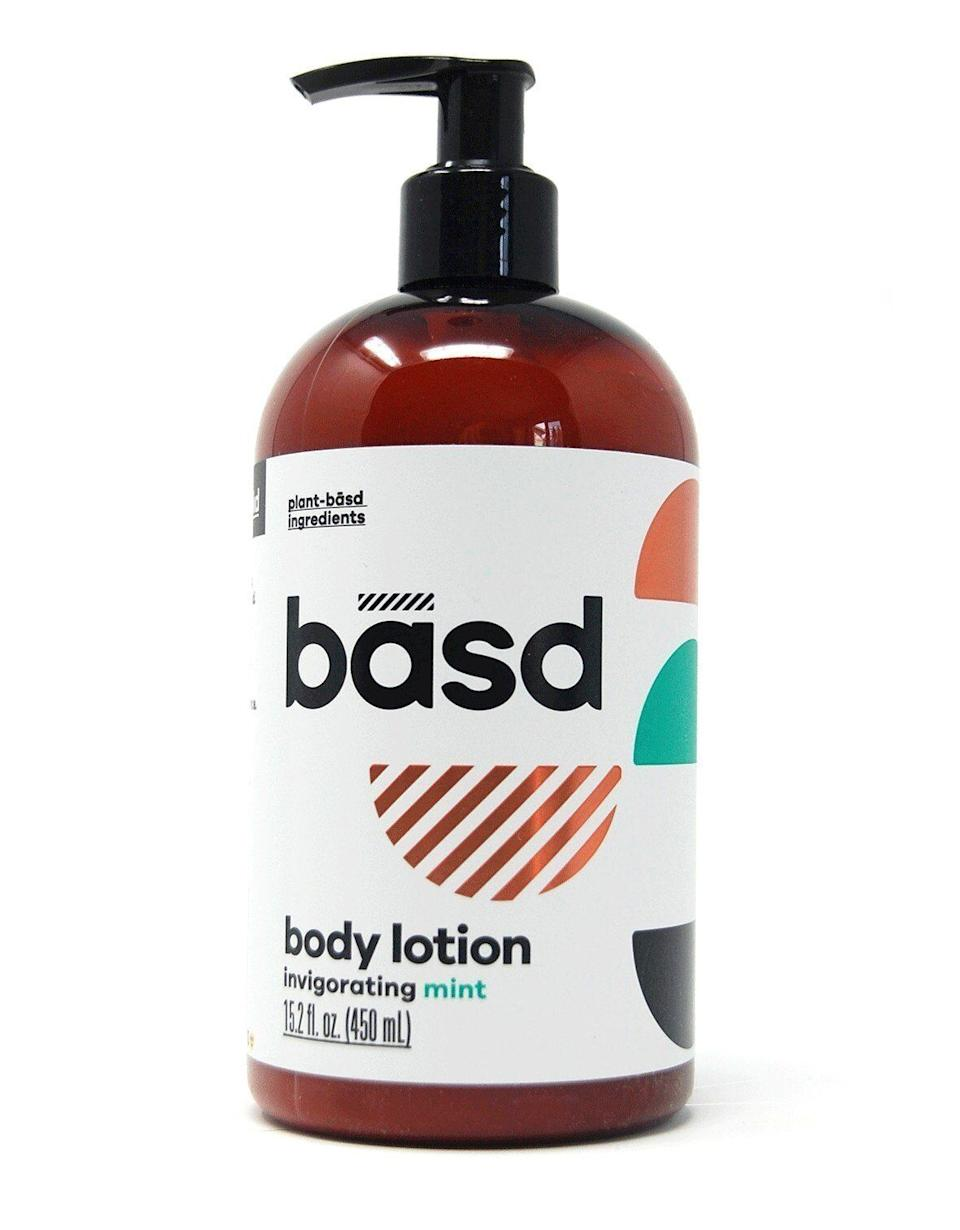 """We adore the invigorating mint scent in this lotion from Basd.We keep a bottle on hand for daily touch-ups as well as our bedtime routine. This organic aloe and shea butter combo works wonders on our heels, elbows, and hands while we sleep. <a href=""""https://www.basdbodycare.ca/products/organic-body-lotion-invigorating-mint?gclid=CjwKCAiAluLvBRASEiwAAbX3GcAaJtMONl18cUA3XGDZkjPq-q77Ofzq6uNSzH_iuU3wmkD6FPiaxRoC3QUQAvD_BwE"""" target=""""_blank"""" rel=""""noopener noreferrer"""">Get it here</a>."""