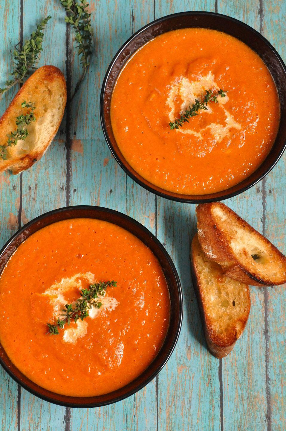 """<p>Not a fan on pumpkin? Any hearty soup is the perfect companion to a crisp fall night, so cozy up to a bowl of chicken noodle, tortilla, roasted butternut squash, baked potato, black bean, french onion, or split pea soup. If you love grilled cheese and tomato soup, consider taking the classic combination to the next level with this recipe for <a href=""""https://www.oprahmag.com/life/food/a29375055/oprah-tomato-soup-panini-recipe/"""" rel=""""nofollow noopener"""" target=""""_blank"""" data-ylk=""""slk:chipotle tomato soup and a truffled goat cheese and fried green tomato panini"""" class=""""link rapid-noclick-resp"""">chipotle tomato soup and a truffled goat cheese and fried green tomato panini</a>, courtesy of Oprah's chef.<br></p>"""
