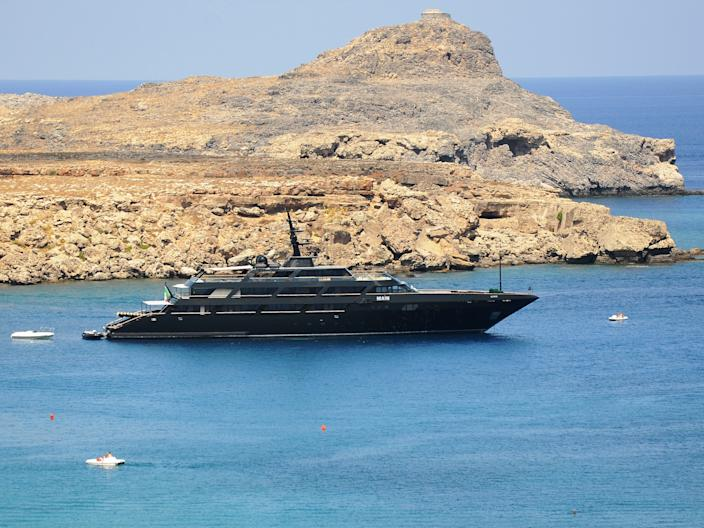 "Armani's yacht, Main, seen near Rhodes Island in Greece in July 2018. <p class=""copyright"">Shutterstock/Bulent Demir</p>"