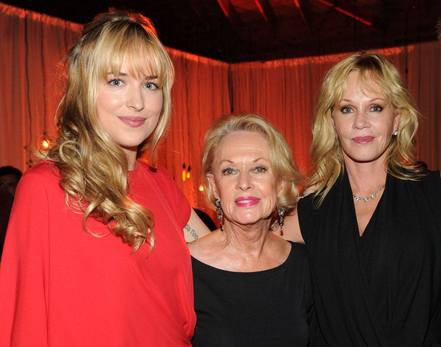 """It was quite a Hollywood family affair last night at Fox's Fall 2012 Eco-Casino party when three generations of actresses -- veteran actress Tippi Hedren, her Oscar-nominated daughter Melanie Griffith, and granddaughter Dakota Johnson -- hit the red carpet to help promote Fox's Tuesday night comedy block.<br><br>Johnson, 22, headlines the network's new brother and sister comedy """"<a href=""""http://tv.yahoo.com/blogs/fall-tv/watch-series-premiere-fox-ben-kate-airs-video-211216889.html"""">Ben and Kate</a>."""" Hedren, 82, and Griffith, 55, will be guest starring on the season premiere of """"Raising Hope."""" Hedren plays Sabrina's (Shannon Woodward) recently deceased grandmother and Griffith plays her narcissistic mother. Hedren spends most of the episode in a coffin (but appears alive in a videotaped message), and while shooting the scene <a href=""""http://tv.yahoo.com/news/kecks-exclusives-first-look-raising-hope-books-mom-135700719.html"""">Griffith recalls</a> her mother telling her, """"Don't worry, honey, you won't have to do this to me. I want you to cremate me and scatter me over our ranch."""""""