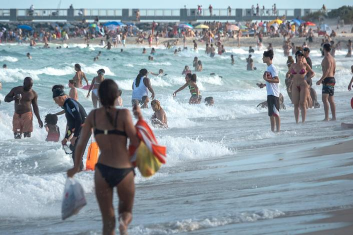 Spring break vacationers flocked to Florida's beaches in March and April (EPA)