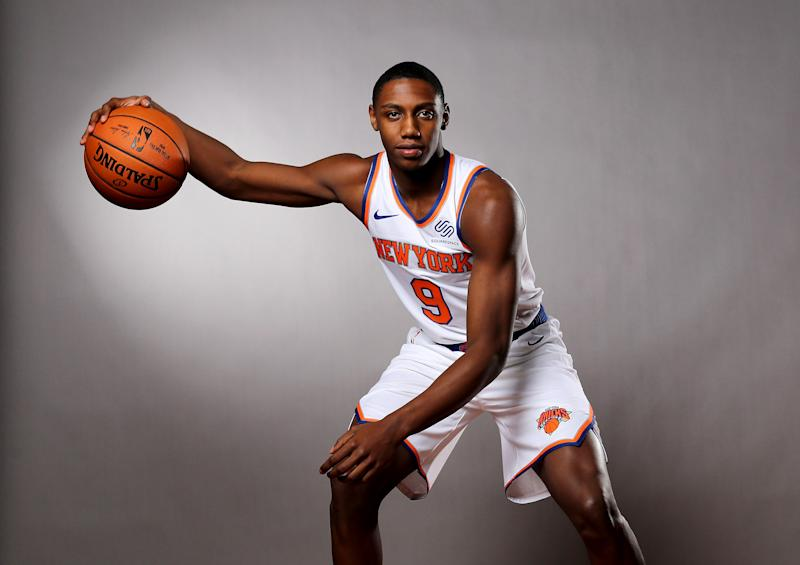 MADISON, NEW JERSEY - AUGUST 11: RJ Barrett of the New York Knicks poses for a portrait during the 2019 NBA Rookie Photo Shoot on August 11, 2019 at the Ferguson Recreation Center in Madison, New Jersey. (Photo by Elsa/Getty Images)