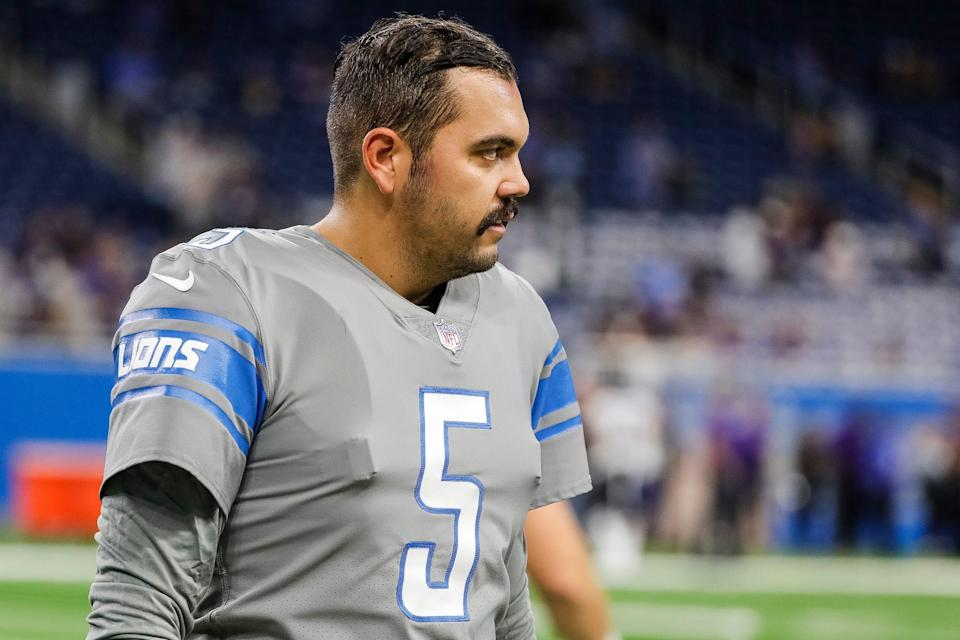 Detroit Lions place kicker Ryan Santoso (5) during warmups before the Baltimore Ravens game at Ford Field in Detroit on Sunday, Sept. 26, 2021.