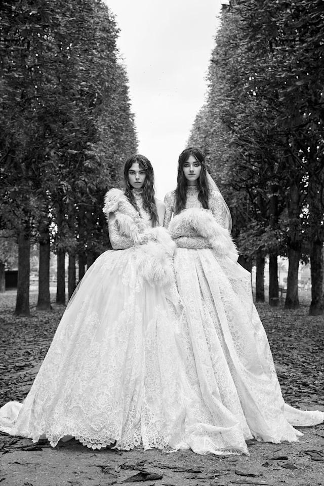 <p><i>From left, long-sleeve macramé lace ball gown with high-neck accent and couture hand-draped skirt; long-sleeve ball gown with macramé lace panels. (Photo: Courtesy of Vera Wang/Patrick Demarchelier) </i></p>