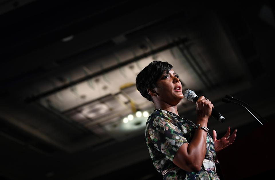Rep. Atlanta Mayor Keisha Lance Bottoms takes the stage at the election night event for Democratic Georgia gubernatorial candidate Stacey Abrams in Atlanta on Nov. 6, 2018.