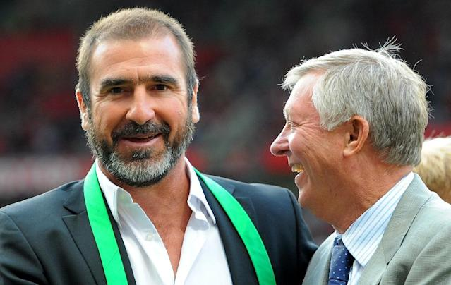 Eric Cantona (L) won four league titles with Manchester United under former manager Alex Ferguson (R) (AFP Photo/Andrew Yates)